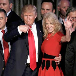Close: President Donald Trump with adviser Kellyanne Conway on election night in November 2016. Photo: Mike Segar/Reuters