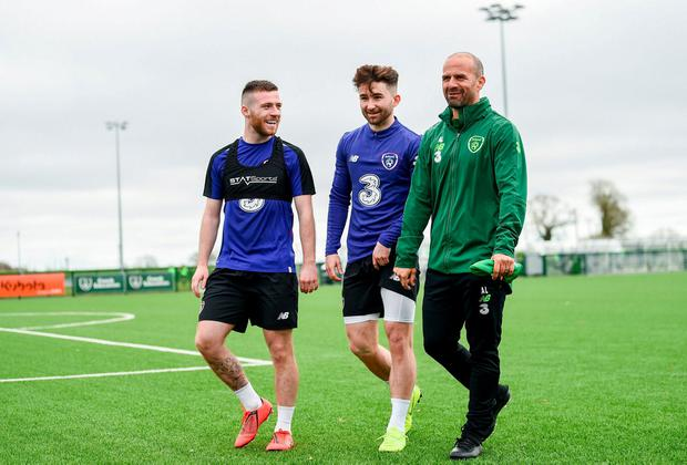 Jack Byrne, left, Sean Maguire and fitness coach Andy Liddle