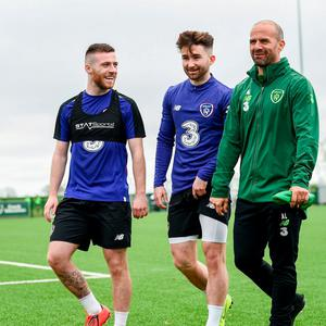Jack Byrne, left, Sean Maguire and fitness coach Andy Liddle during a Republic of Ireland training session at the FAI National Training Centre in Abbotstown. Photo: Stephen McCarthy/Sportsfile