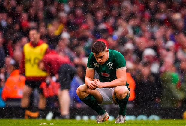 DEFLATED: Ireland's Garry Ringrose after the final whistle of the Six Nations finale against Wales last Saturday. Photo: Ramsey Cardy/Sportsfile