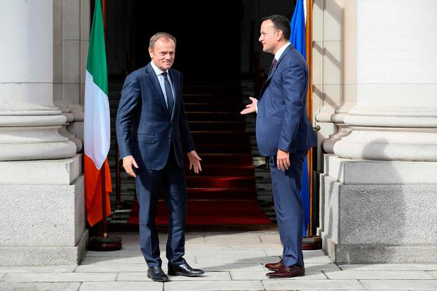 Dublin talks: Taoiseach Leo Varadkar greets European Council Donald Tusk. Photo: Getty