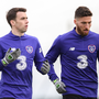 Seamus Coleman, left, and Matt Doherty during a Republic of Ireland training session at the FAI National Training Centre in Abbotstown, Dublin. Photo by Stephen McCarthy/Sportsfile