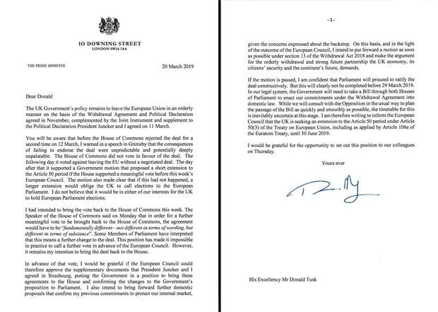 Handout image issued by number 10 Downing Street of the letter Prime Minister Theresa May has sent to Donald Tusk requesting an extension to the Article 50 Brexit negotiations until June 30. 10 Downing Street/PA Wire