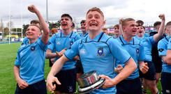 Henry McErlean of St Michael's College celebrates after the Bank of Ireland Leinster Schools Junior Cup Final match between Blackrock College and St Michaels College at Energia Park in Donnybrook, Dublin. Photo by Piaras Ó Mídheach/Sportsfile