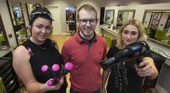 Style Bar Hairdresser, David Finn pictured with hairdressers, Tiffany Owens (lt) and Mary O'Keeffe at his Portlaoise, Co. Laois premises yesterday. PIC COLIN O'RIORDAN