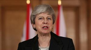 Britain's Prime Minister Theresa May makes a statement about Brexit in Downing Street. Photo: Jonathan Brady/Pool via REUTERS