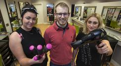 Hot topic: Style Bar owner David Finn, with hairdressers Tiffany Owens (left) and Mary O'Keeffe, has banned pyjamas from his Portlaoise salon. Photo: Colin O'Riordan