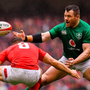 Slip-up: Cian Healy struggles to gather the ball as Wales's Gareth Davies prepares to tackle last weekend. Photo: Sportsfile