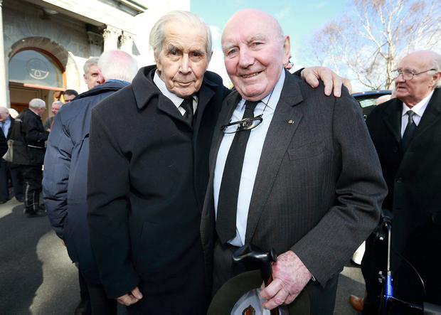Colleagues: Former Fine Gael ministers Tom O'Donnell and Patrick Cooney at the Mass for Richie Ryan in Mount Merrion, Dublin. Photo: Frank McGrath