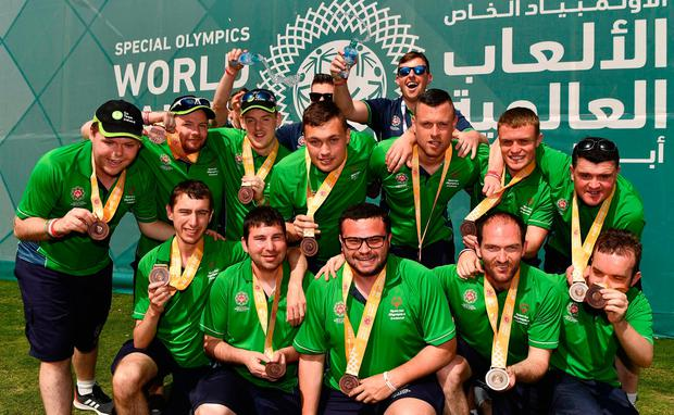 Winners: Team Ireland's seven-a-side squad and coaches show off their bronze medals. Photo: Ray McManus/Sportsfile
