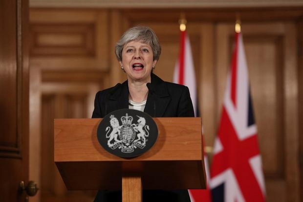 """Address to her nation: Theresa May said the British people were """"sick"""" of Brexit. Photo: Jonathan Brady/Pool via REUTERS"""