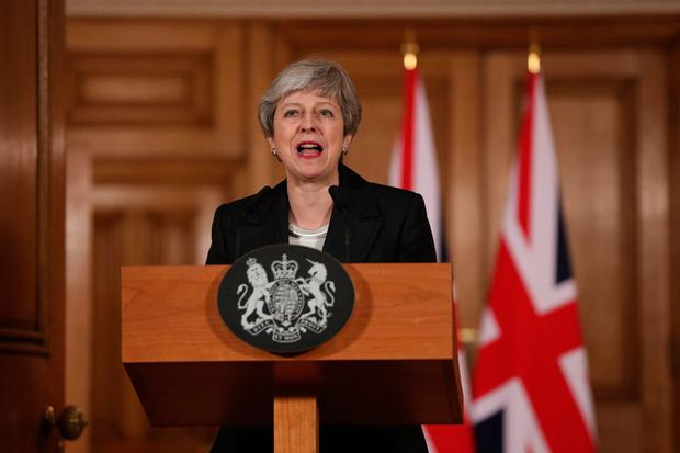 UK Prime Minister Theresa May makes a statement about Brexit in Downing Street, London. Photo: Jonathan Brady/PA Wire