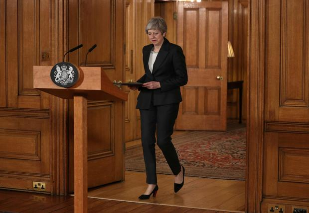 Britain's Prime Minister Theresa May prepares to make a statement about Brexit in Downing Street in London, Britain March 20, 2019. Jonathan Brady/Pool via REUTERS