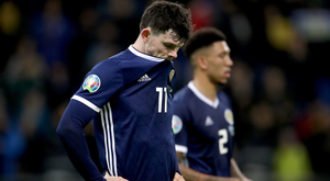 Scotland's Oliver Burke appears dejected during the UEFA Euro 2020 Qualifying, Group I match at the Astana Arena. PRESS ASSOCIATION Photo.
