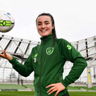 Niamh Farrelly helped to kick off the FAI Aviva Soccer Sisters Easter Football Festival at Aviva Stadium
