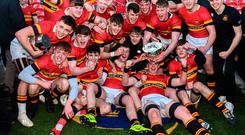 CBC celebrate their Munster Schools Senior Cup victory. Photo: Eóin Noonan/Sportsfile