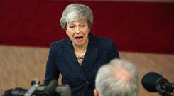 Droning: Mrs May in Brussels. Picture: AP