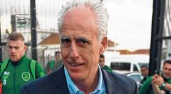 Mick McCarthy arrives at Gibraltar International Airport ahead of the first game in his second stint as Republic of Ireland manager. Photo: Stephen McCarthy/Sportsfile