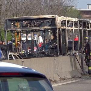The wreckage of the bus in Milan. Photo: Local Team via Reuters TV/Reuters