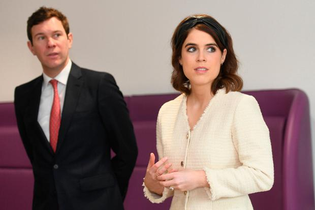 Princess Eugenie of York and Jack Brooksbank during a visit to the Royal National Orthopaedic Hospital to open the new Stanmore Building on March 21, 2019 in Stanmore, Greater London. (Photo by David Mirzoeff - WPA Pool/Getty Images)