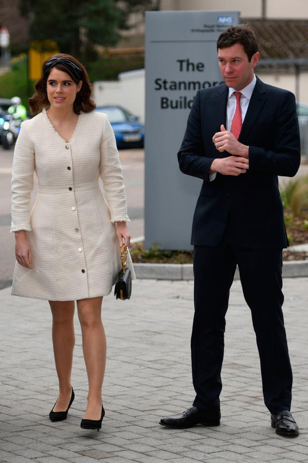 Princess Eugenie of York and Jack Brooksbank arrive at the Royal National Orthopaedic Hospital to open the new Stanmore Building on March 21, 2019 in Stanmore, Greater London. (Photo by David Mirzoeff - WPA Pool/Getty Images)