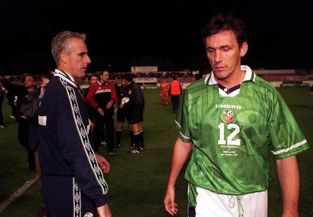Mick McCarthy with Tony Cascarino at the end of the game after Macedonia score in injury-time in Skopje, October 1999 to deny them automatic qualification for Euro 2000