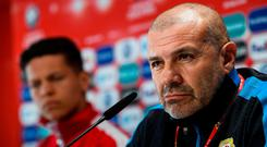 Gibraltar manager Julio César Ribas during a press conference at Victoria Stadium in Gibraltar. Photo by Stephen McCarthy/Sportsfile