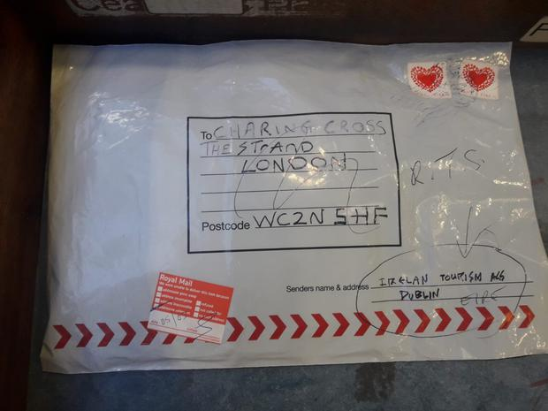 The suspect package identified at the Limerick An Post sorting office. Photo: An Garda Siochana