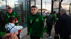 Seamus Coleman and his squad arrive at Gibraltar International Airport