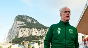 Republic of Ireland manager Mick McCarthy surveys the Victoria Stadium in Gibraltar, the venue for today's Euro 2020 qualifier. Photo: Stephen McCarthy/Sportsfile