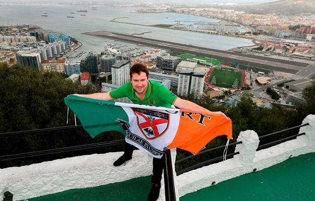 Keith Hastings flies the flag for Westport in Gibraltar yesterday. Photo: Seb Daly/Sportsfile