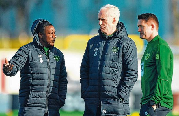 Keane with Mick McCarthy and Terry Connor. Photo: Seb Daly/Sportsfile