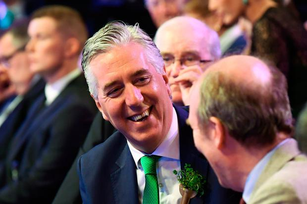 FAI chief executive John Delaney speaks with Transport Minister Shane Ross at the FAI International Awards at RTÉ Studios in Donnybrook, Dublin, last Sunday. Picture: Sportsfile