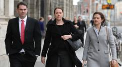 Family affair: Children of Seán Quinn (left-right) Seán Jr, Aoife and Brenda at the Four Courts. Photo: Collins Courts