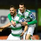 Greg Bolger, left, of Shamrock Rovers celebrates with team-mate Sean Kavanagh after scoring