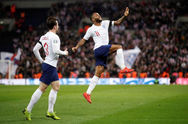 England's Raheem Sterling celebrates scoring their fourth goal and completing a hat-trick. Photo: Carl Recine/Action Images via Reuters