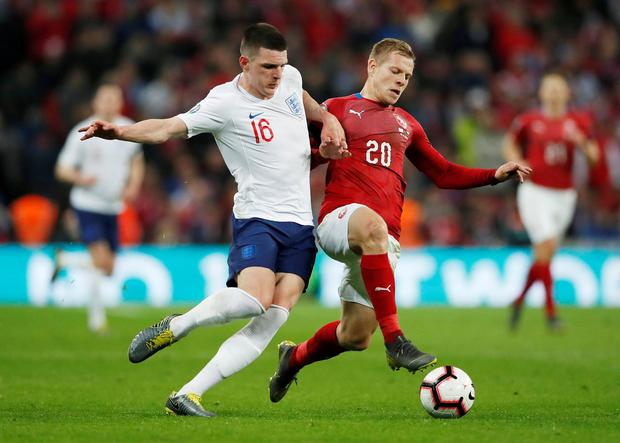 England's Declan Rice in action with Czech Republic's Matej Vydra. Photo: David Klein/Reuters