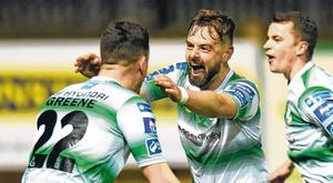 Greg Bolger celebrates with his Shamrock Rovers team-mate Aaron Greene (L) after scoring a late winner against Finn Harps during last night's League of Ireland clash in Ballybofey. Photo Oliver McVeigh/Sportsfile