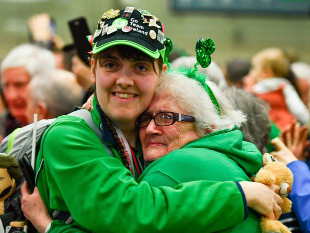 Team Ireland's Sarah Kilmartin, from Athlone, Co Westmeath, who won gold with the basketball team is welcomed home by her mother Lilly last month. Photo by Ray McManus/Sportsfile