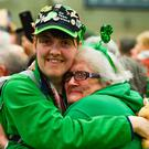 Team Ireland's Sarah Kilmartin, from Athlone, Co Westmeath, who won gold with the basketball team is welcomed home by her mother Lilly. Photo by Ray McManus/Sportsfile