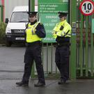 Alert: Gardaí at the An Post sorting centre on the Dock Road, Limerick. Photo: Liam Burke/Press 22
