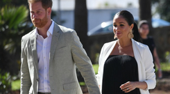 Prince Harry, Duke of Sussex and Meghan, Duchess of Sussex walk through the walled public Andalusian Gardens which has exotic plants, flowers and fruit trees during a visit on February 25, 2019 in Rabat, Morocco. (Photo by Facundo Arrizabalaga - Pool/Getty Images)