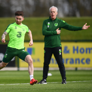 Sean Maguire and Republic of Ireland manager Mick McCarthy during a training session at the FAI National Training Centre in Abbotstown, Dublin. Photo by Stephen McCarthy/Sportsfile