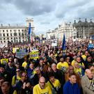 Anti-Brexit campaigners gather in Parliament Square, as they take part in the People's Vote March in London. PRESS ASSOCIATION Photo. Picture date: Saturday March 23, 2019. See PA story POLITICS Brexit March. Photo credit should read: Yui Mok/PA Wire