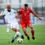 David McGoldrick of Republic of Ireland in action against Lee Casciaro of Gibraltar during the UEFA EURO2020 Qualifier Group D match between Gibraltar and Republic of Ireland at Victoria Stadium in Gibraltar. Photo by Stephen McCarthy/Sportsfile