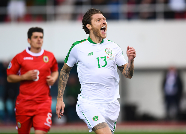 Jeff Hendrick of Republic of Ireland celebrates after scoring his side's first goal during to the UEFA EURO2020 Qualifier Group D match between Gibraltar and Republic of Ireland at Victoria Stadium in Gibraltar. Photo by Stephen McCarthy/Sportsfile