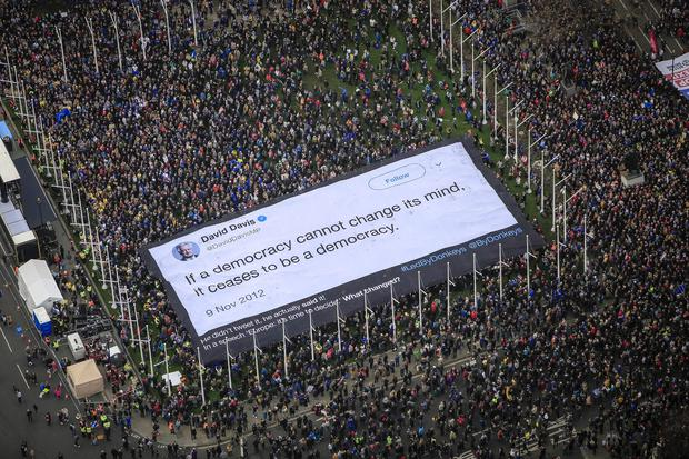 Handout photo issued by Led By Donkeys of an 800sqm banner of a David Davis quote in Parliament Square during a People's Vote March in London.
