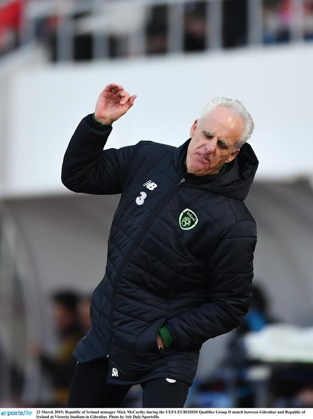 Republic of Ireland manager Mick McCarthy during the UEFA EURO2020 Qualifier Group D match between Gibraltar and Republic of Ireland at Victoria Stadium in Gibraltar. Photo by Seb Daly/Sportsfile