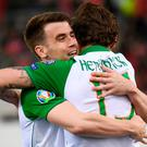 Jeff Hendrick of Republic of Ireland celebrates after scoring his side's first goal with team-mate Seamus Coleman, left, during the UEFA EURO2020 Qualifier Group D match between Gibraltar and Republic of Ireland at Victoria Stadium in Gibraltar. Photo by Stephen McCarthy/Sportsfile