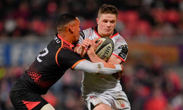 Angus Kernohan of Ulster is tackled by Harlon Klaasen of Isuzu Southern Kings during the Guinness PRO14 Round 18 match between Ulster and Isuzu Southern Kings at the Kingspan Stadium in Belfast. Photo by Ramsey Cardy/Sportsfile